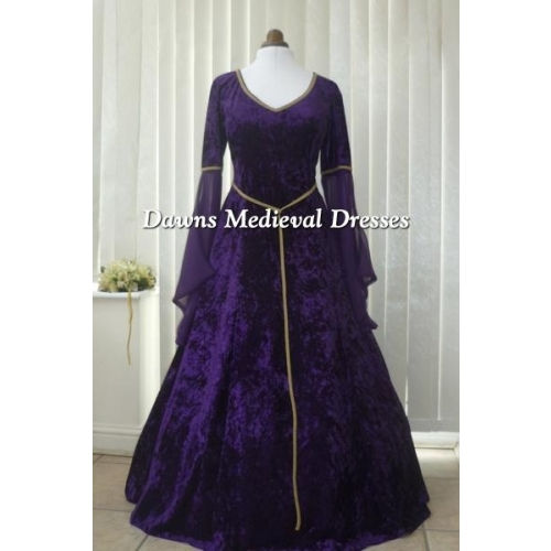 Medieval Lotr Pagan Purple & Gold V Neck  Velvet Dress